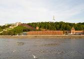 View of the city of Nizhny Novgorod in the Volga River — Stock Photo