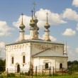 Stock Photo: White orthodox church with five domes in Suzdal, Russia