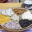 Traditional Uzbek hospitality - is served tea and sweets — Stock Photo