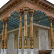 Carved wooden columns in the ancient mosque — Stock Photo