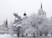 Winter alley in park and an Orthodox church spire — Stok fotoğraf
