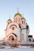 Temple of the Great Martyr George the Victorious in Samara in the setting sun — Stock Photo