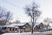 Street with wooden houses in Samara — Stock Photo