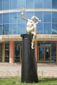 Sculpture clown in Omsk about Puppet Theater — 图库照片