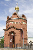 Small brick chapel in Omsk — Stock Photo