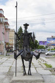 OMSK, RUSSIA - JULY 2: Forged metal monument to Don Quixote on July 2, 2014 in Omsk. — Stock Photo