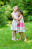 Two adorable little girls standing together — Stock Photo