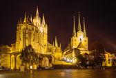 エアフルト大聖堂とドイツ セヴェリ教会 — ストック写真