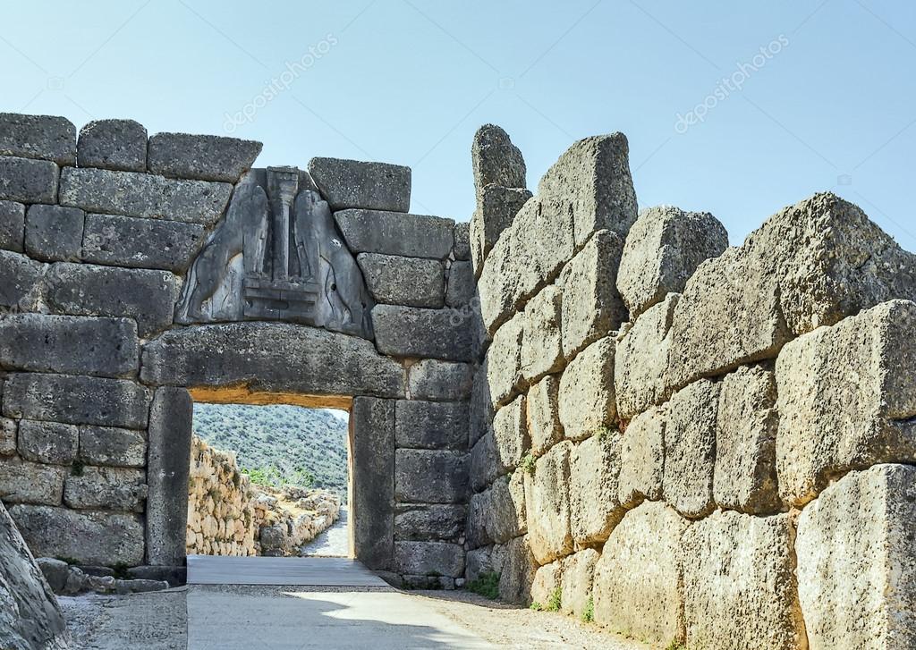 Micene grecia foto stock borisb17 28533537 - La porta dei leoni a micene ...