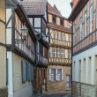 The street with half-timbered houses in Quedlinburg, Germany — Stock Photo
