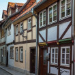Stockfoto: Street with half-timbered houses in Quedlinburg, Germany