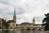 View of Fraumunster and st. Peter church, Zurich — Photo