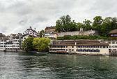 Embankment of Limmat river, Zurich — Stockfoto