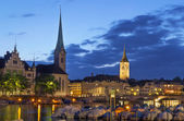 View of Fraumunster and st. Peter church, Zurich — Stock Photo