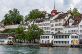 Embankment of Limmat river, Zurich — Stock Photo