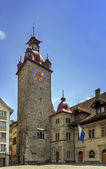 Town Hall clock tower, Lucerne — Stock Photo