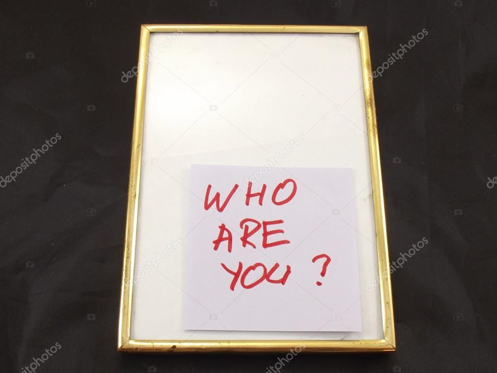 The word who are you? in a frame on white background — Stock Photo #13915367