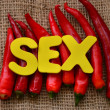Stock Photo: Word sex and chili