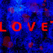 Foto Stock: Blue and red 3D valentines day