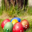 Royalty-Free Stock Photo: Colorful easter eggs on green grass