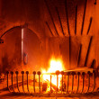 Стоковое фото: Flames of fire in fireplace