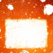 Stock Photo: Grunge orange banner with white inky splashes