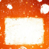 Grunge orange banner with white inky splashes — Stock Photo