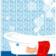 Bathtub in the bathroom — Stock Vector