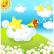 Sun, and star making celebration  — Stock Vector