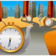 Snail with clock moving in different direction  — Imagen vectorial