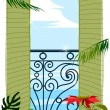 View through balcony door to sea — Image vectorielle