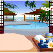 Indoor swimming pool of resort hotel — Stock Vector