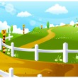 Race course on green landscape — Stock Vector