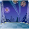 Fireworks over city skyline — Imagen vectorial