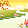 Stock Vector: Overpass over Green Landscape