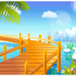 Swan and jetty over lake - Stock Vector