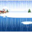 Winter rural scene  — Stock Vector