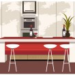 Modern kitchen with dining counter - Stock Vector