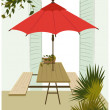 Stock Vector: Red parasol