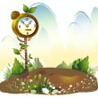 Alarm clock in Meadow  — Stock Vector
