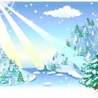 Royalty-Free Stock Vectorafbeeldingen: Fir tree on snow mountain
