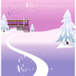 Winter landscape and building exterior — Stock Vector