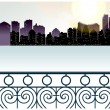 Royalty-Free Stock Imagem Vetorial: City skyline overlooks from balcony