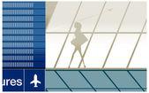 Silhueta de menina de beleza no aeroporto com bagagem — Vetorial Stock
