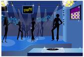 Dancing in a disco — Stock Vector