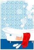 Bathtub in the bathroom — Stock Vector