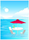Beach Umbrella and Chairs — Vector de stock