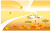 Fine cup on a table covered with autumn leaves — Stock Vector