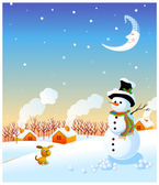 Snowman and winter landscape — Stock Vector