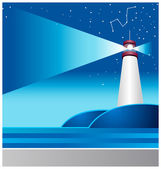 Lighthouse and astrology sign in sky — Stock Vector